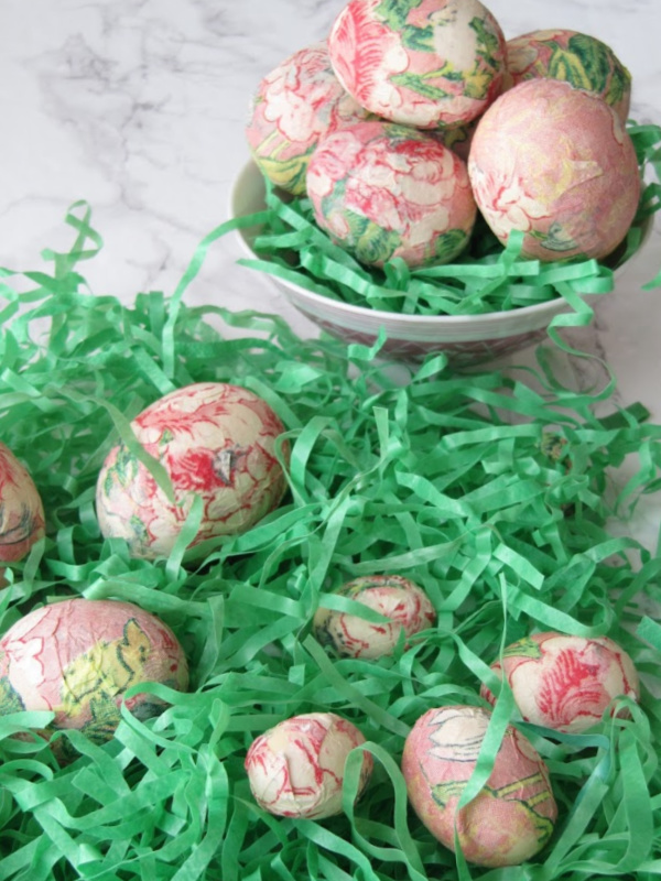 bowl with easter grass and eggs