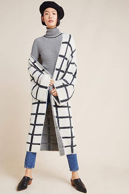 Anthropologie Harlyn Windowpane Knit Kimono