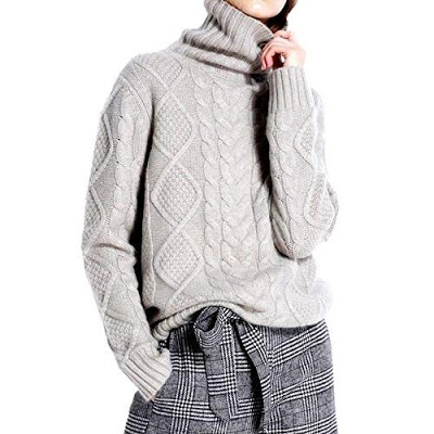 Gray Cable knit Cashmere Turtleneck Sweatier