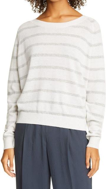 Striped White Cashmere Sweater