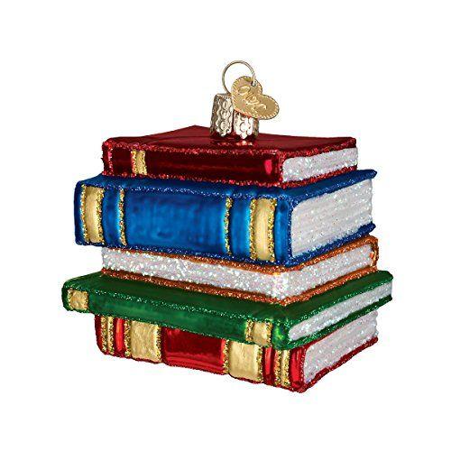 glass stack of books ornament