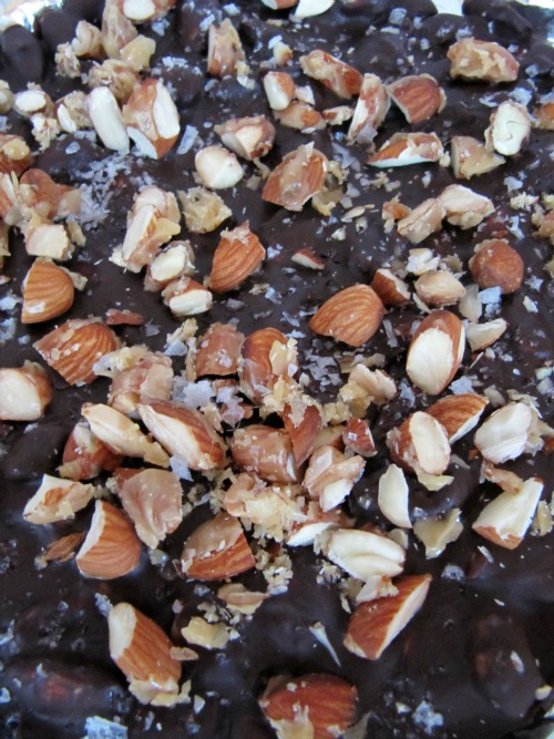 closeup chocolate almond candy