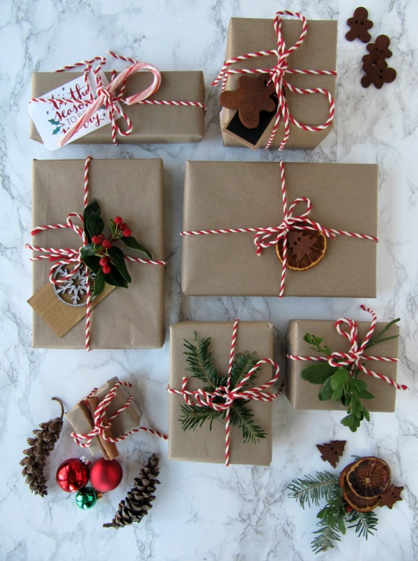 Brown paper packages ties up with red and white twine