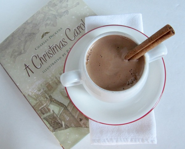 Christmas book and cup of cocoa