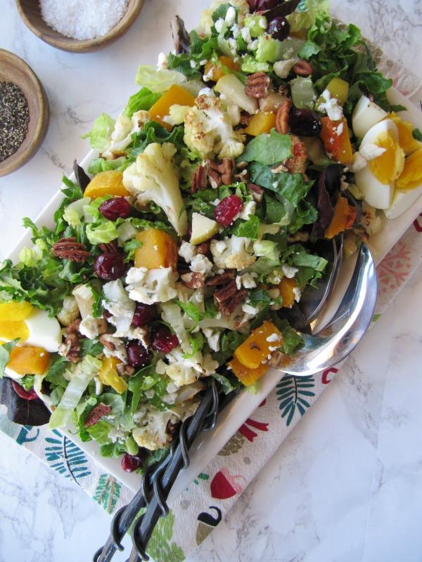 Roasted-vegetable-salad-on-white-serving-platter