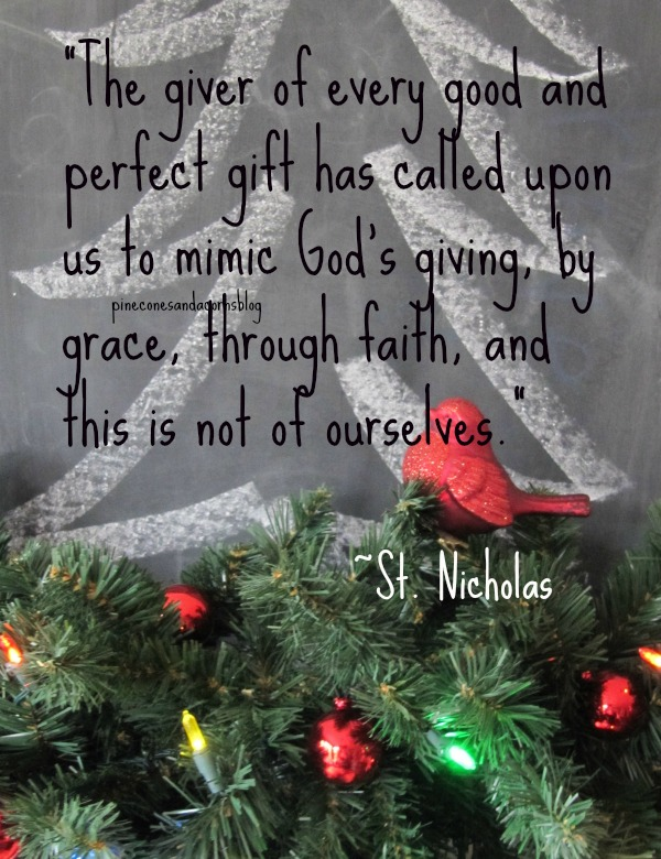 Quote by St. Nicholas on a chalk board with a christmas tree and evergreen