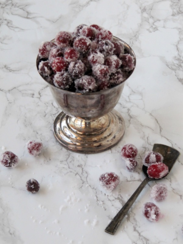 Candies Cranberries in a Silver bowl with a silver spoon