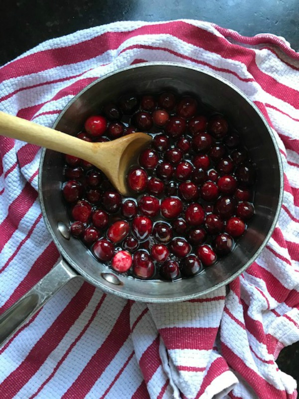 Cranberries in a pot