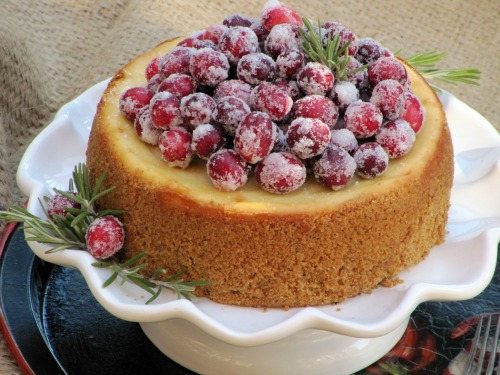 Eggnog Cheesecake with Candied Cranberries