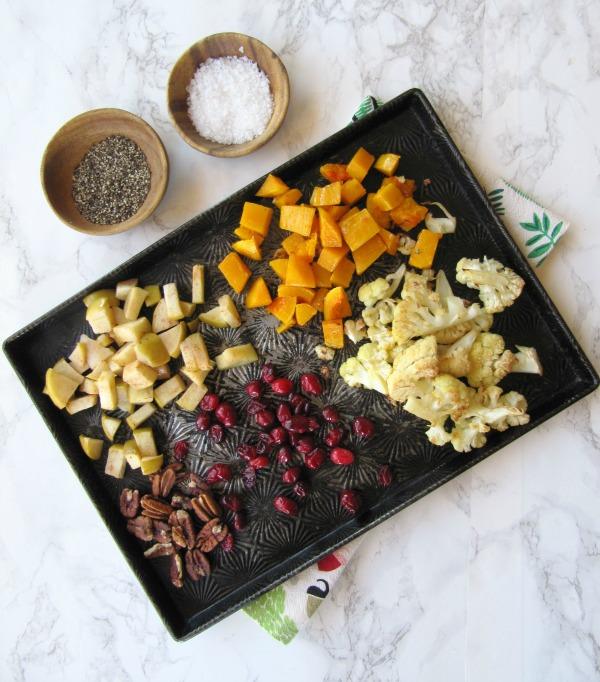 roasted-cranberry-squash-cauliflower on a pan