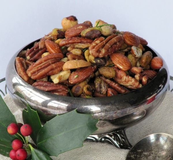 Mixed nuts in silver bowl