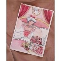 Marie Antoinette In Bed with Cakes and Cookies Watercolor