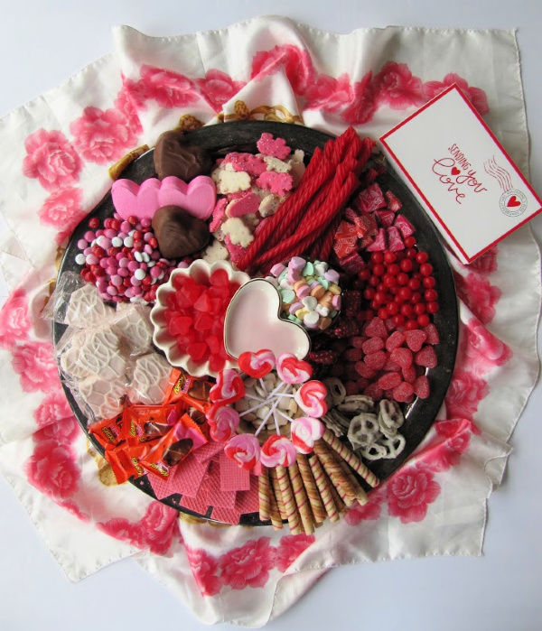 """Valentine candy """"charcuterie board"""" of candy and cookies"""