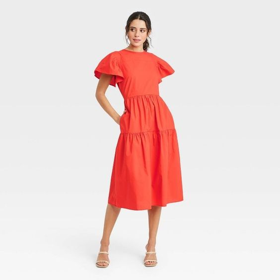 Orange Tiered Dress Target