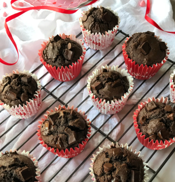 chocolate muffins in valentine themed liners