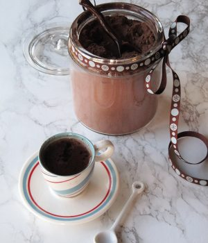 glass canister of hot chocolate mix