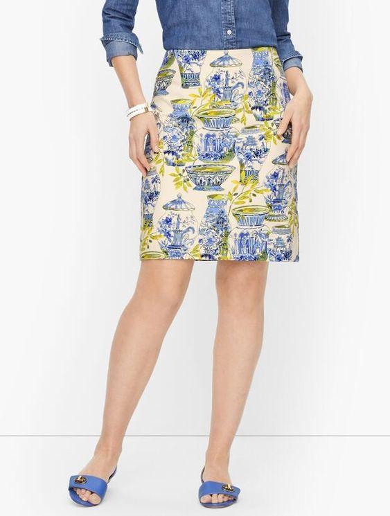 Blue white and yellow skirt