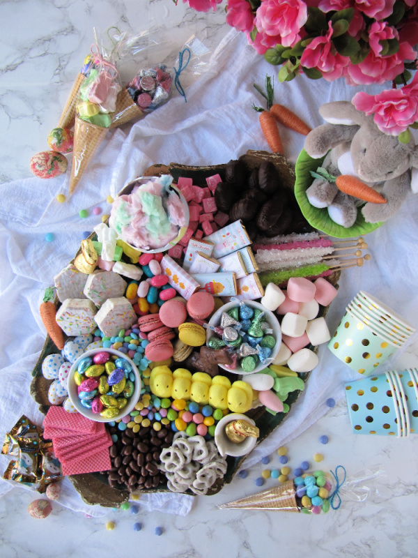 Easter candy and cookie charcuterie dessert board
