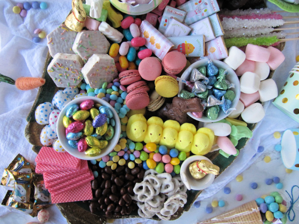 Easter candy cake dessert board