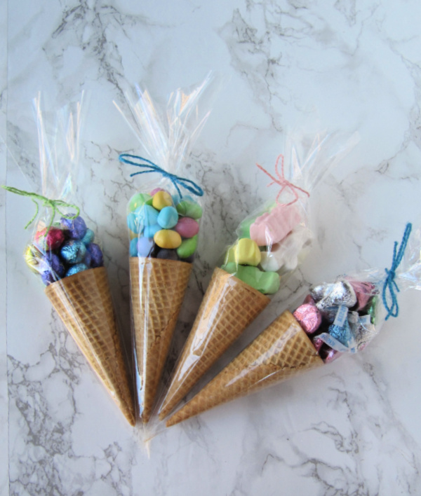 Sugar cones with easter candy in cellophane