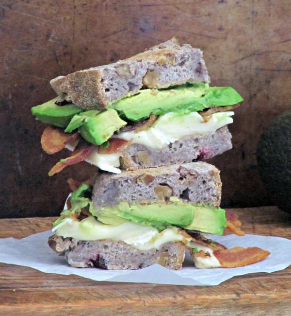 Bacon brie and avocado sandwich