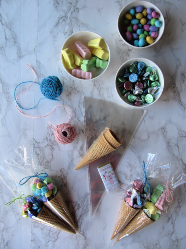 Easter favor cones with bowl of candy