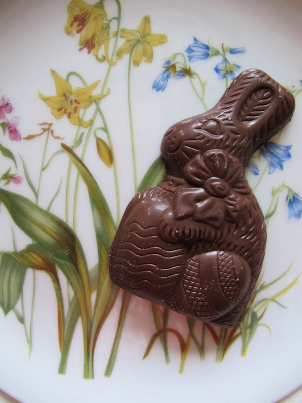 Chocolate Easter Bunny on a flower plate