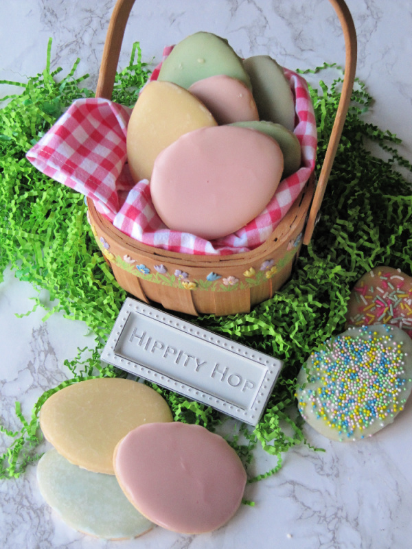 pastel Easter egg cookies in a basket