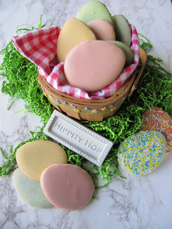 easter basket filled with pastel Easter egg cookies