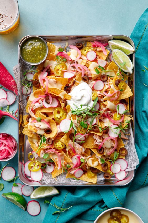 Loaded smoked chicken nachos from Love and Olive Oil
