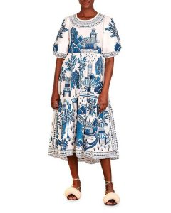 Blue and white chinoiserie dress