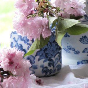 cherry blossoms and lue and white chinoiserie vases