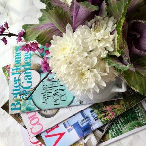 Fresh flowers and magazines