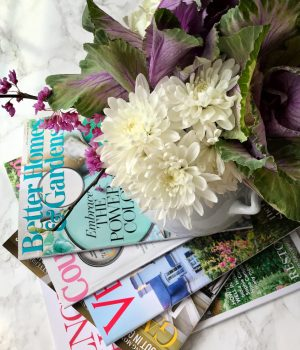 Fresh flowers and magazines