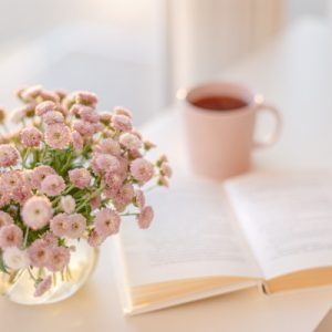pink flowers and a book