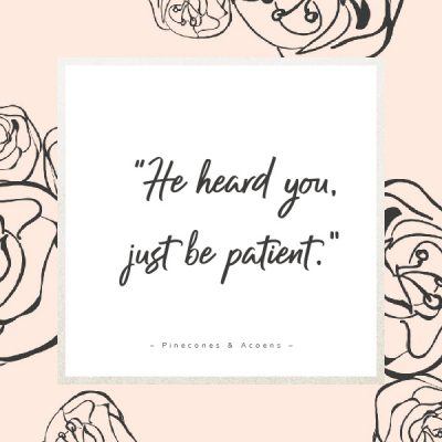 He heard you just be patient quote on a peach colored background with flowers
