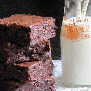 brownies and milk in a vintage bottle