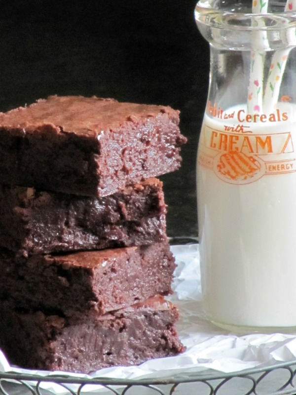 brownies and milk in a vintage bottle