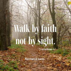 leaf path in a forest with the words walk by faith not by sight in white letters over the top