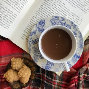 cup of hot chocolate in a blue and white toile cup and saucer laying on top of an opened book with a plaid throw and acorn cakelets