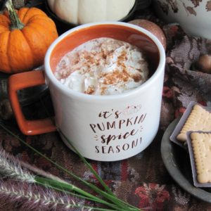 its pumpkin spice season cup filled with hot chocolate surrounded by pumpkins